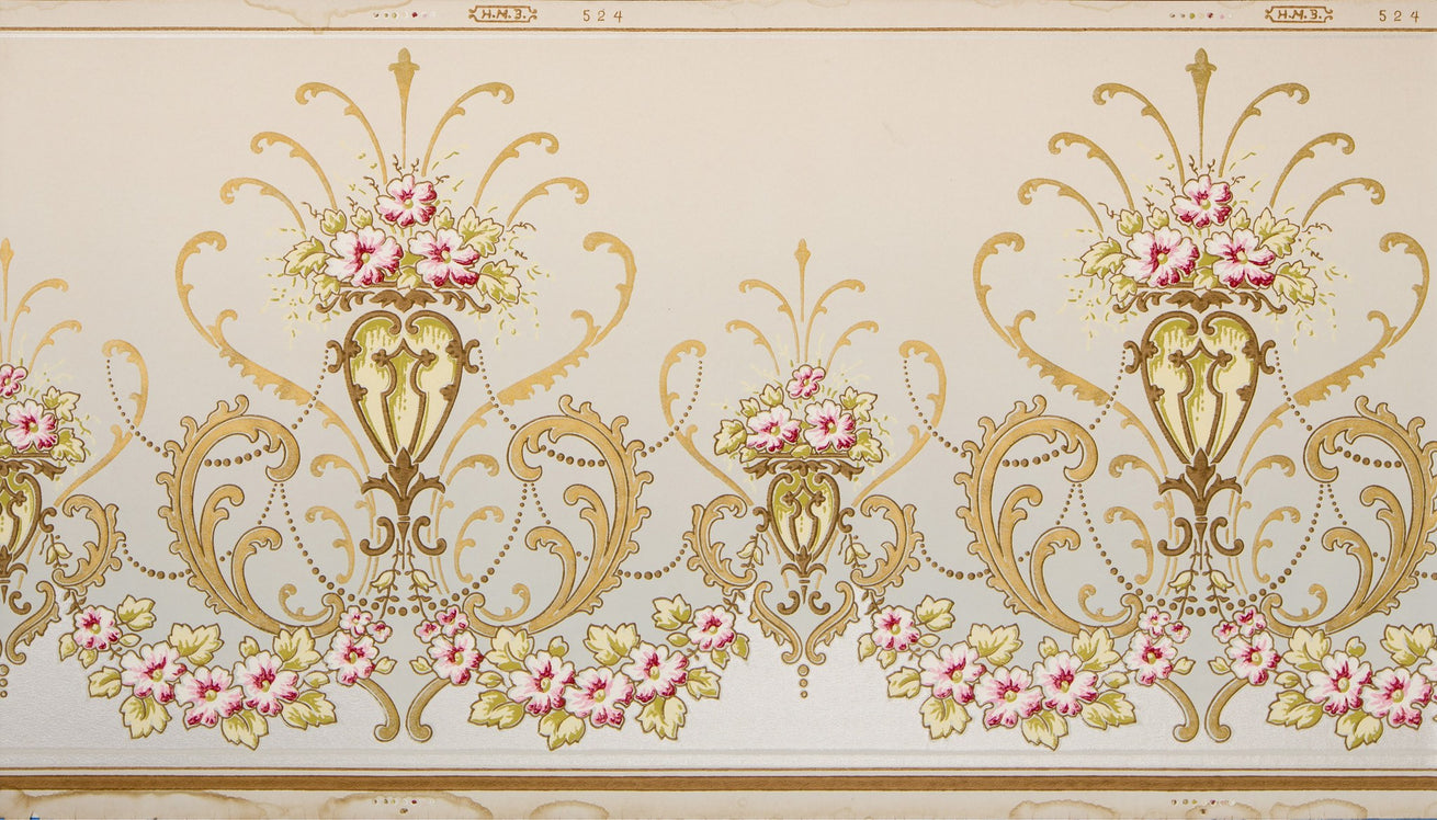 Blended Frieze of Gilt Scrolls, Rose Swags - Antique Wallpaper Remnant