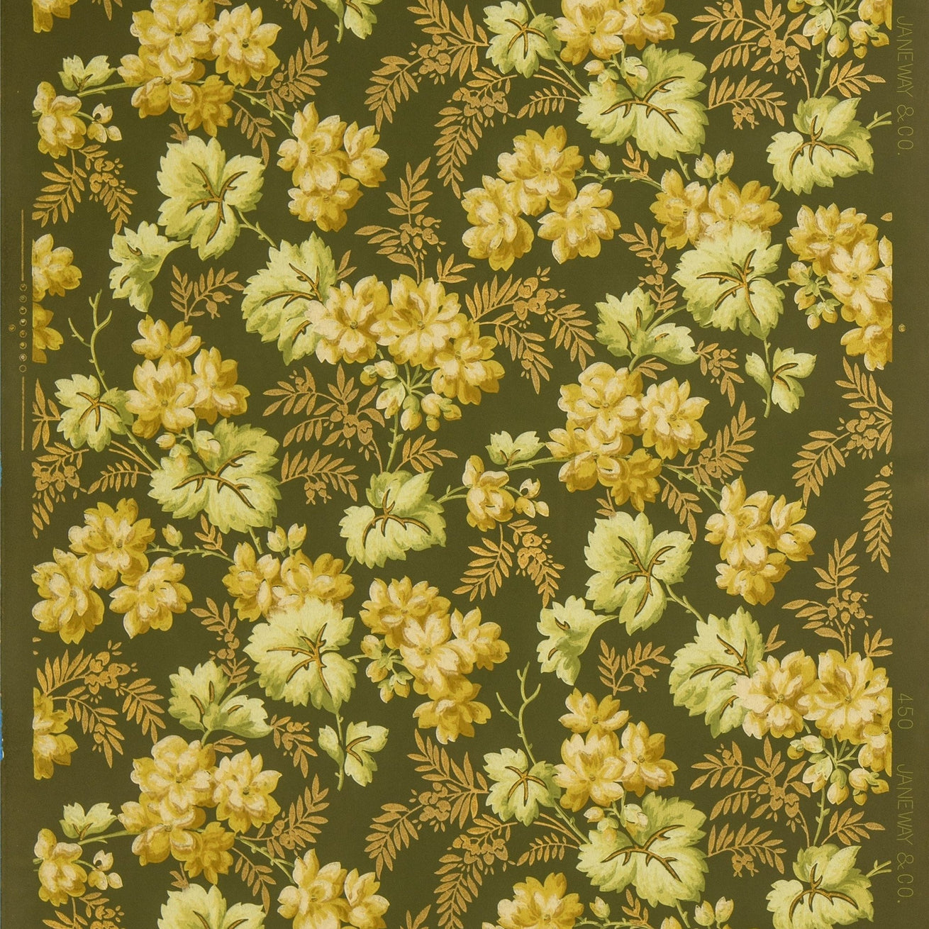 Flower Clusters Amid Gilt Foliate Sprigs - Antique Wallpaper Remnant