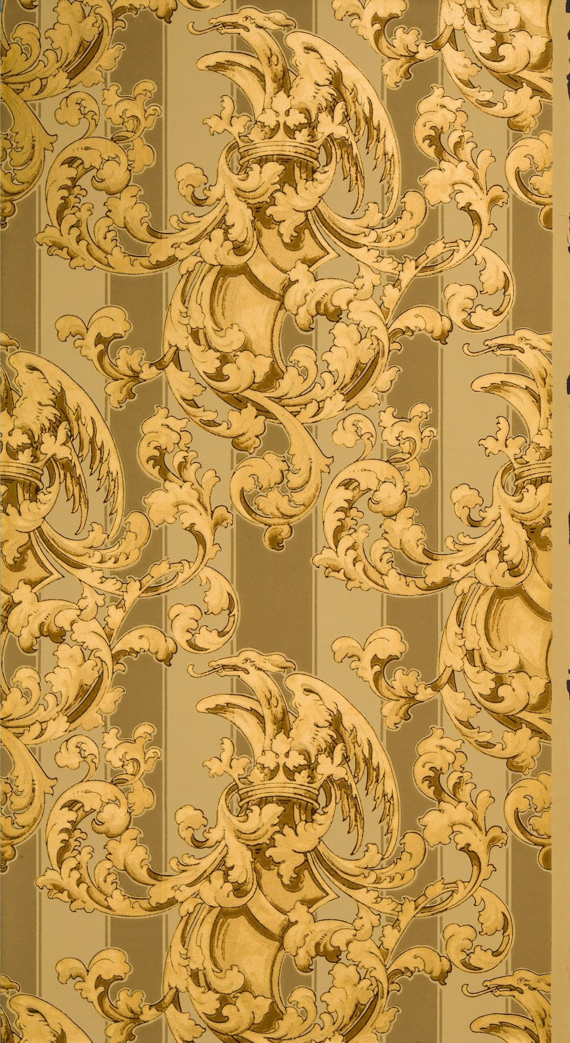 Shield, Crown and Griffin Amid Gilt Scrolls - Antique Wallpaper Remnant
