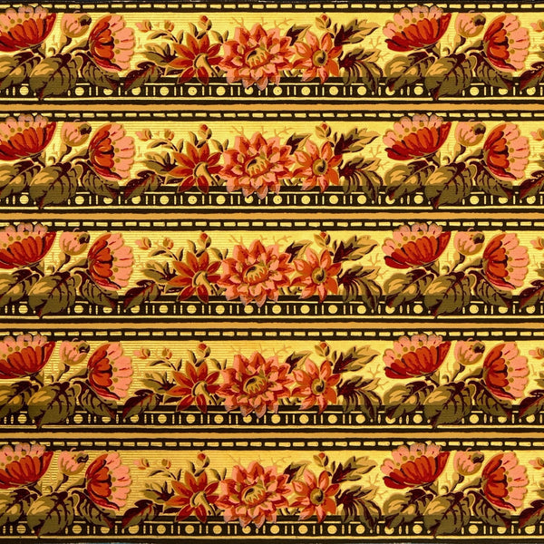 "5-Band 3-5/8"" Gilt Floral/Foliate Border - Antique Wallpaper Roll"