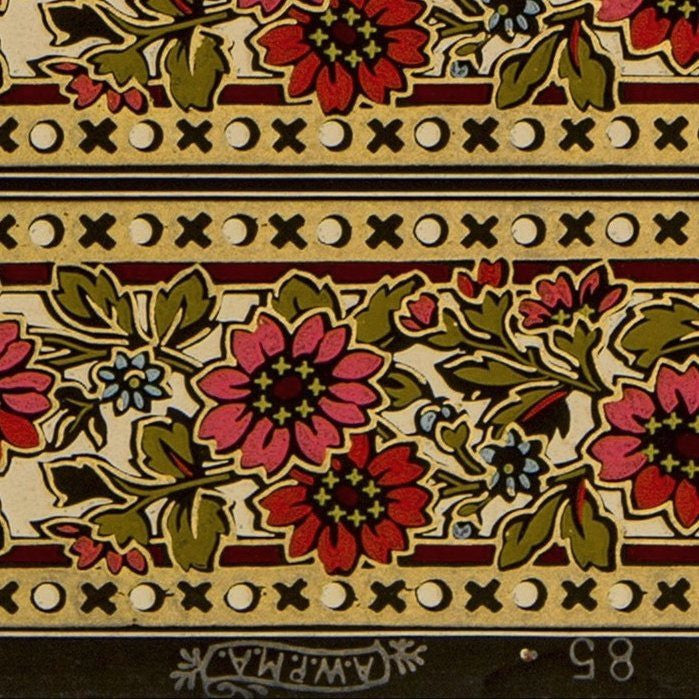 "5-Band 3-3/4"" Stylized Gilt Floral Border - Antique Wallpaper Roll"