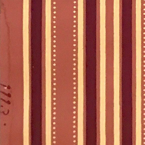 8-Band Burgundy/Ivory Stripes w/Dots on Terra Cotta Ground - Antique Wallpaper Rolls