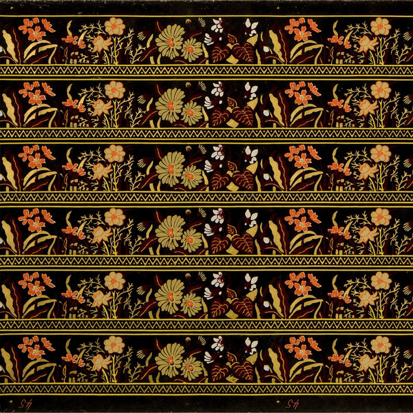 "6-Band 3"" Stylized Floral Border - Antique Wallpaper Roll"