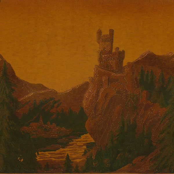 """Castles on the Rhine"" - Small Castle on Gold Ground - Antique Wallpaper Remnant"