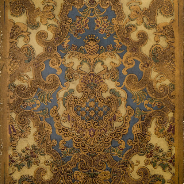 Intricate Rococo Tooled Leather Antique Wallpaper