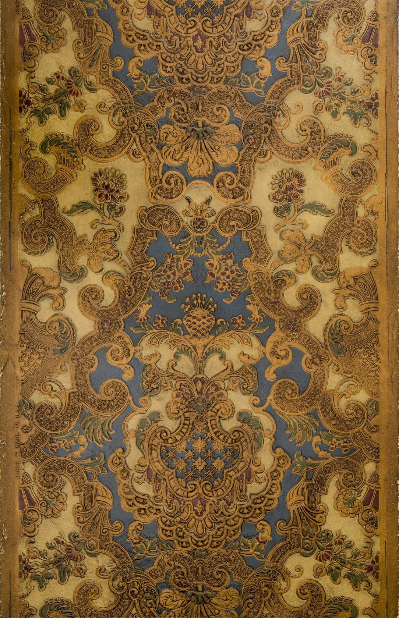 Intricate Rococo Tooled Leather - Antique Wallpaper Remnant