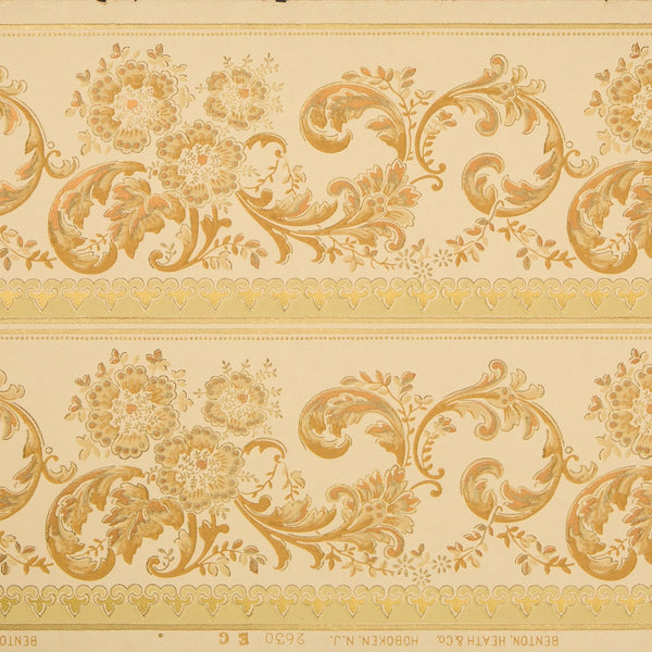 "9"" Scrolling Floral Border with Metallics - Antique Wallpaper Remnant"