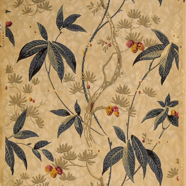 Stylized Twining Branches and Leaves - Antique Wallpaper Remnant