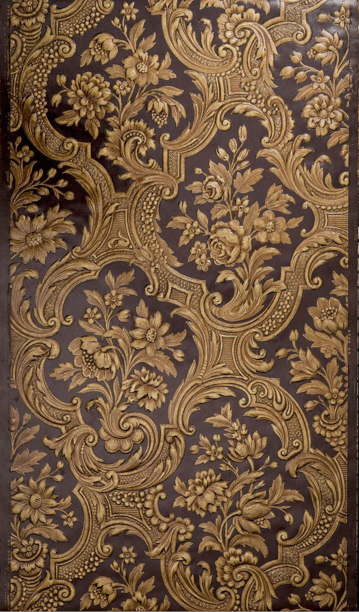 Deeply Embossed Rococo Floral - Antique Wallpaper Remnant