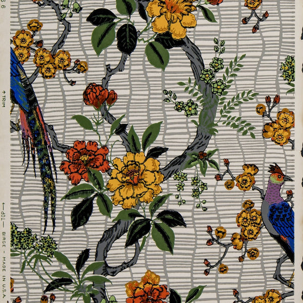 Feathered Bird Amid Flowering Vines - Antique Wallpaper Remnant