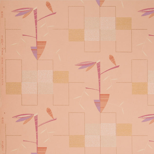 Modernized Abstract Native American Motifs - Antique Wallpaper Remnant