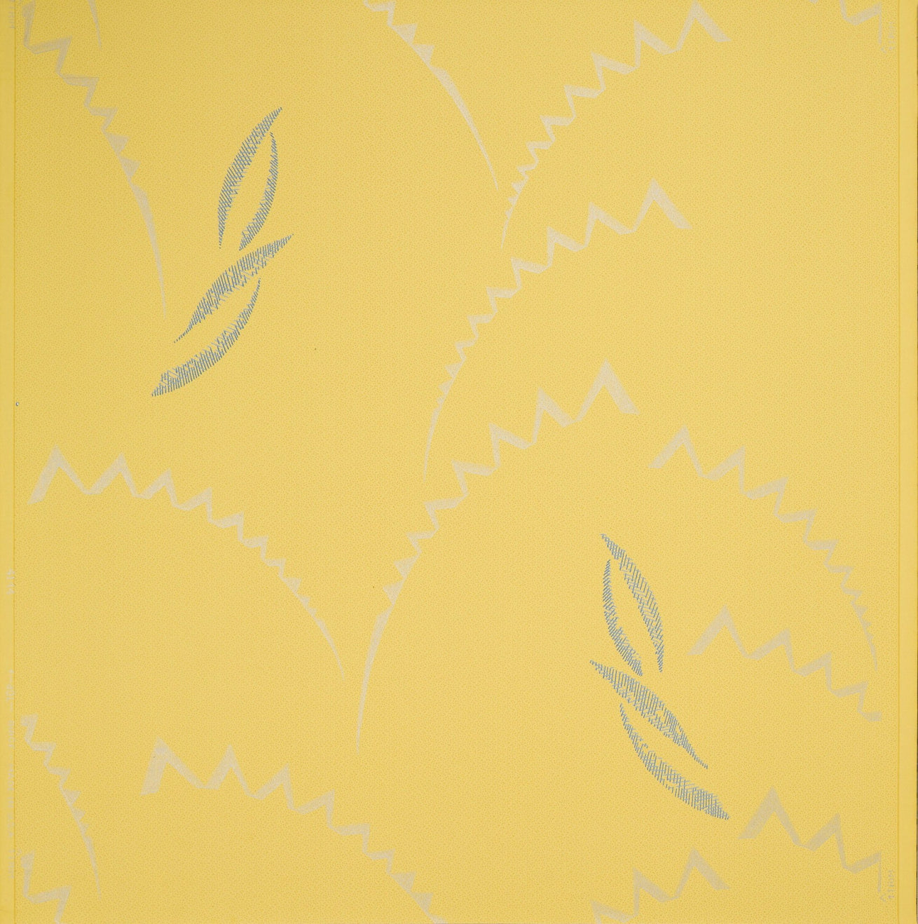 Silver Serrated Crescents and Hatched Leaves - Antique Wallpaper Remnant