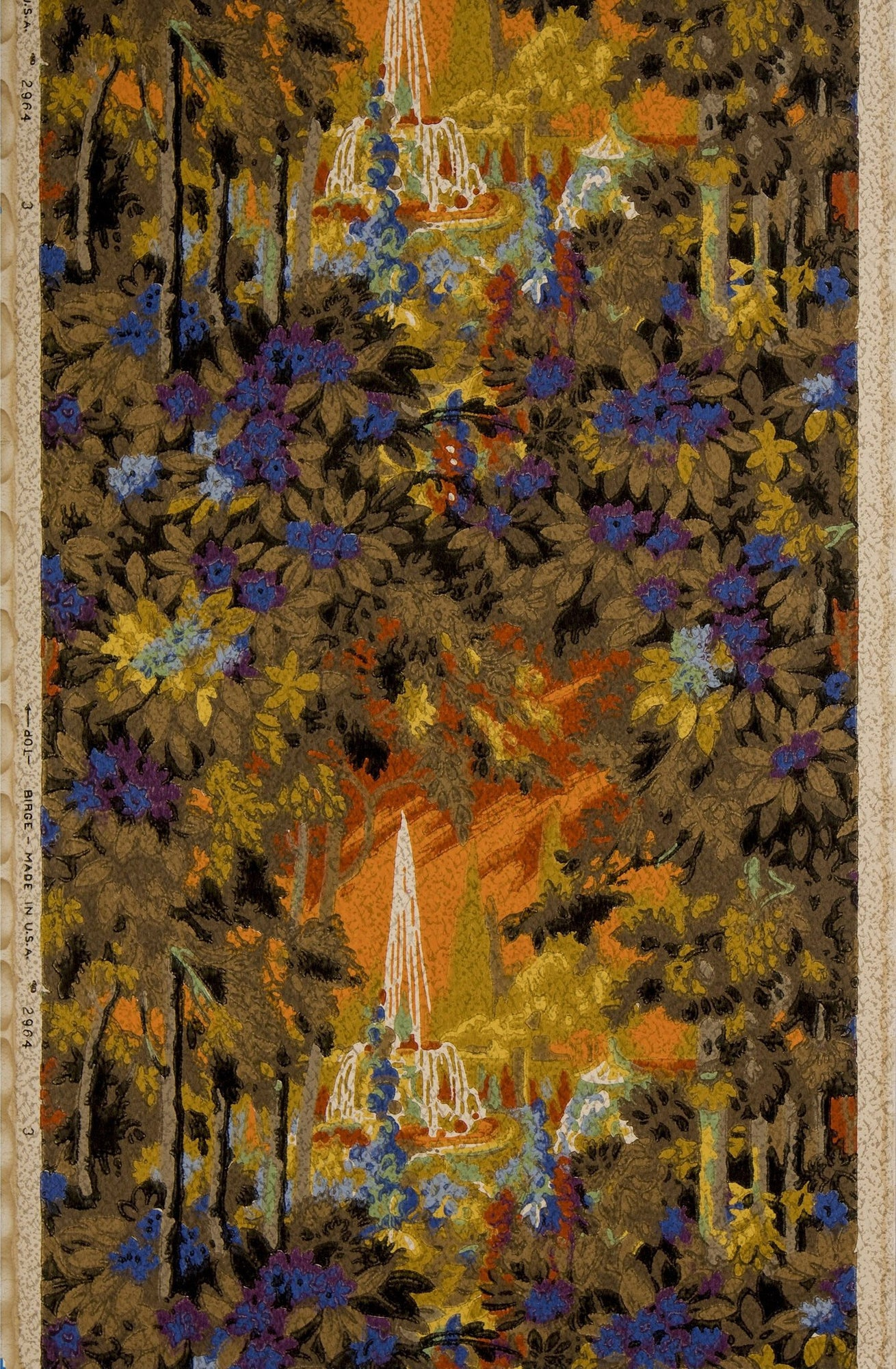 Fiery Fountain View Through Dense Foliage - Antique Wallpaper Remnant