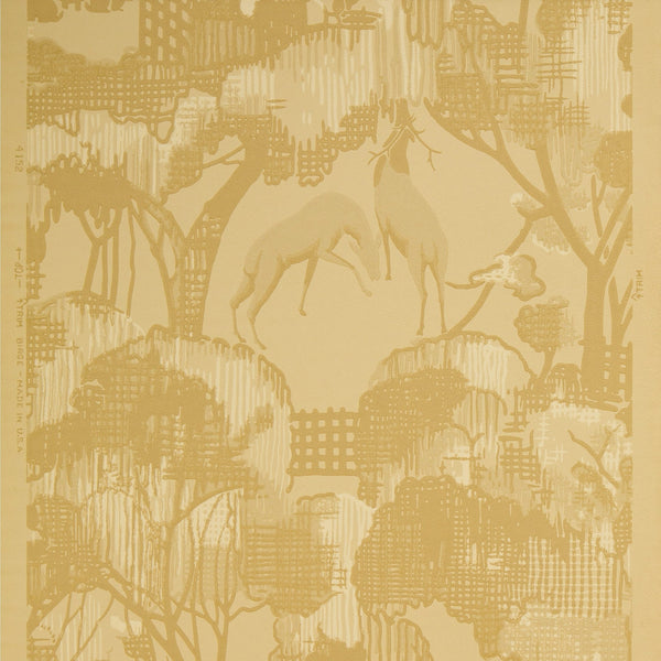 Abstract Forest Scene with Deer/Birds/Rabbits - Antique Wallpaper Rolls