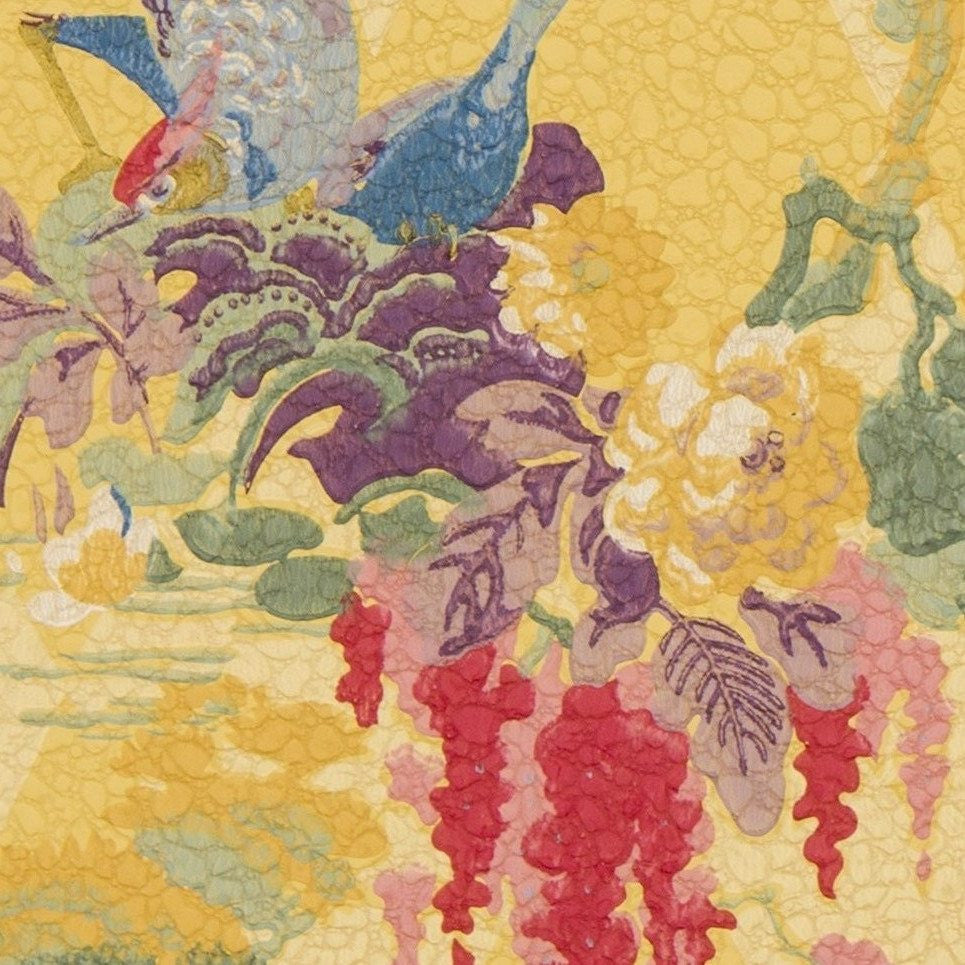 Exotic Birds/Flowers, Gilt Sun, Harlequin Motif