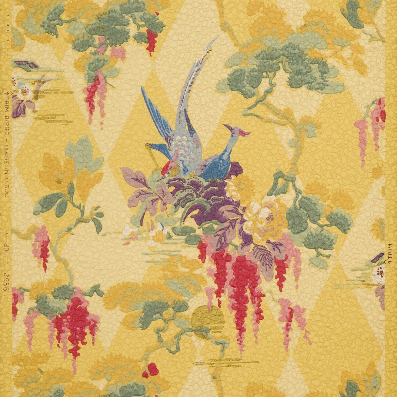 Exotic Birds/Flowers, Gilt Sun, Harlequin Motif - Antique Wallpaper Remnant