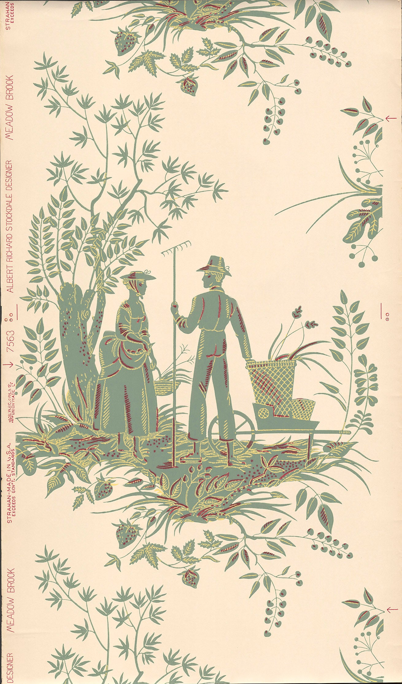 Farm Figures - Vintage Wallpaper Remnant