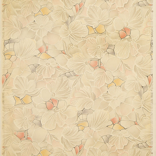 """Coral Onyx"" Varnished Floral Sanitary Paper - Antique Wallpaper Roll"