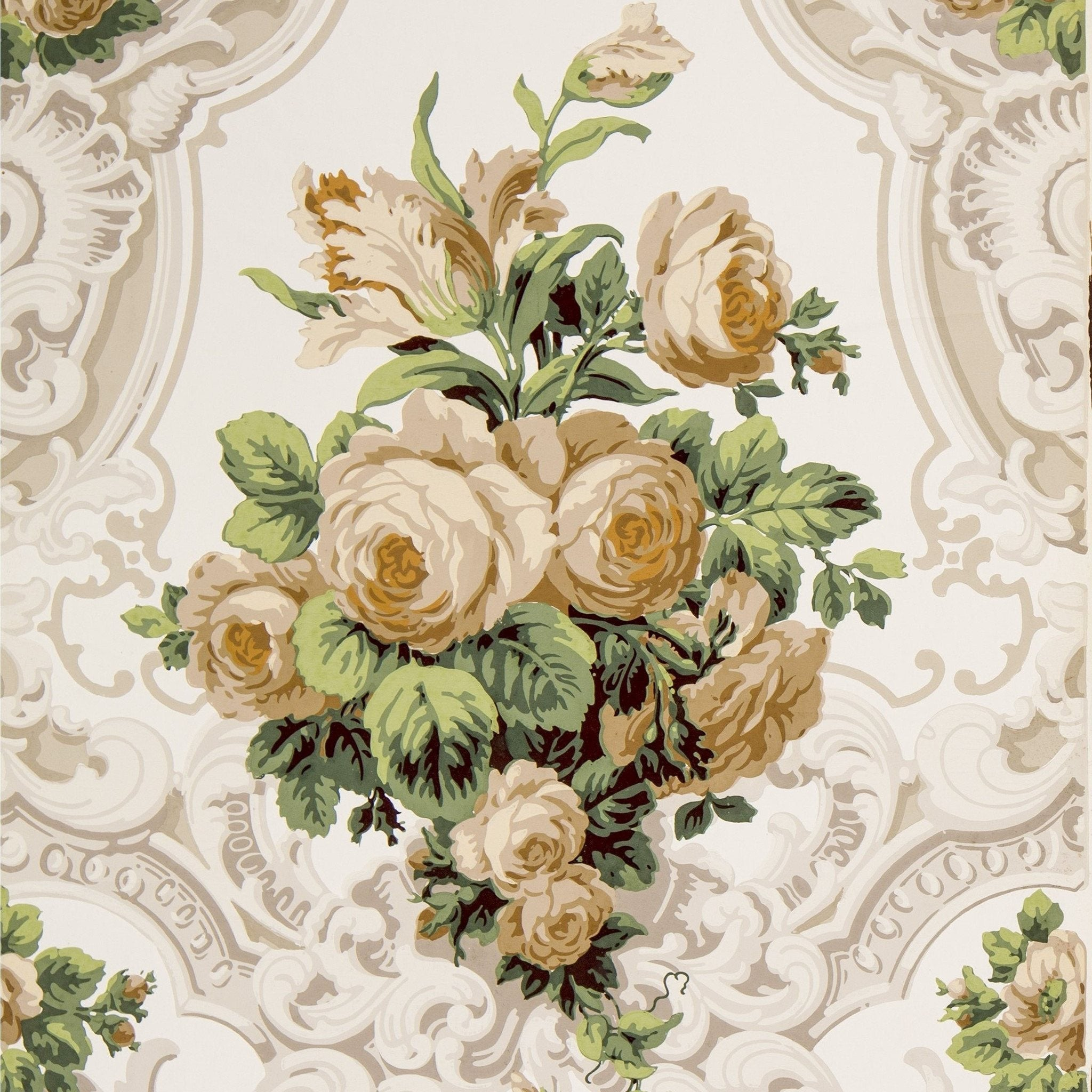 Large Rose Bouquets In Rococo Scrolls