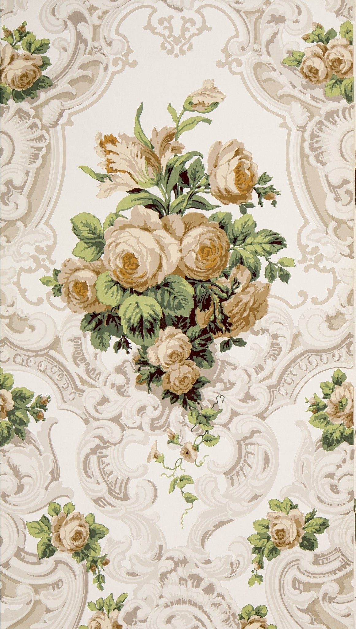 Large Rose Bouquets in Rococo Scrolls - Antique Wallpaper Remnant