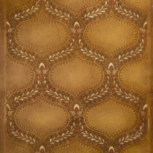 Heavily Tooled Piscine Pattern on Leather - Antique Wallpaper Remnant