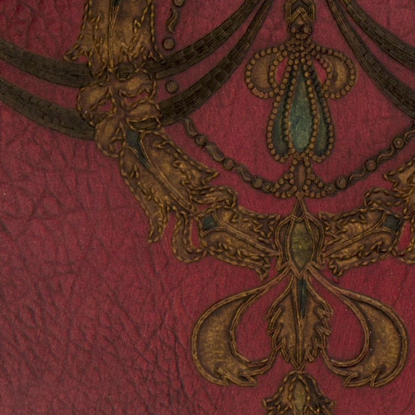 Embossed Wreath/Swag Ornament on Leather - Antique Wallpaper Remnant