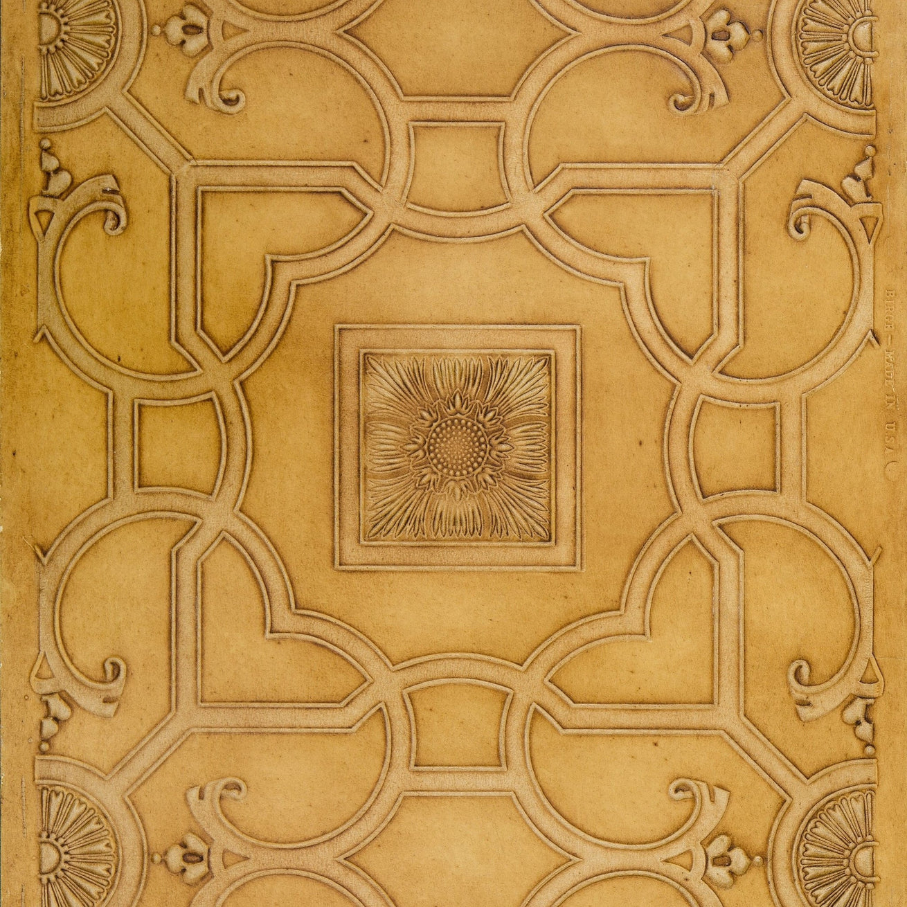 Embossed Ceiling Design of Raised Moldings - Antique Wallpaper Remnant