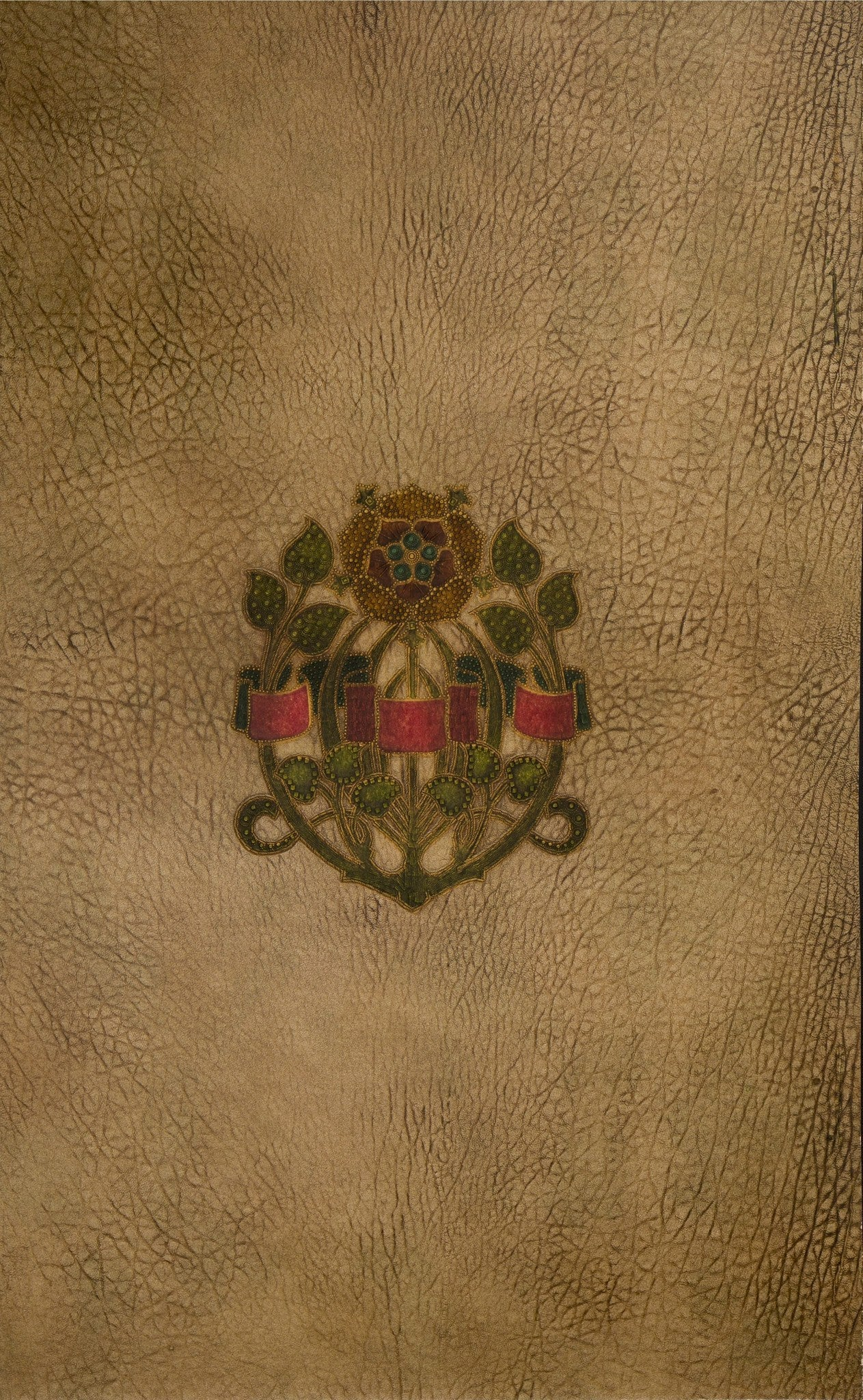 Embossed Arts & Crafts Rose on Leather - Antique Wallpaper Remnant