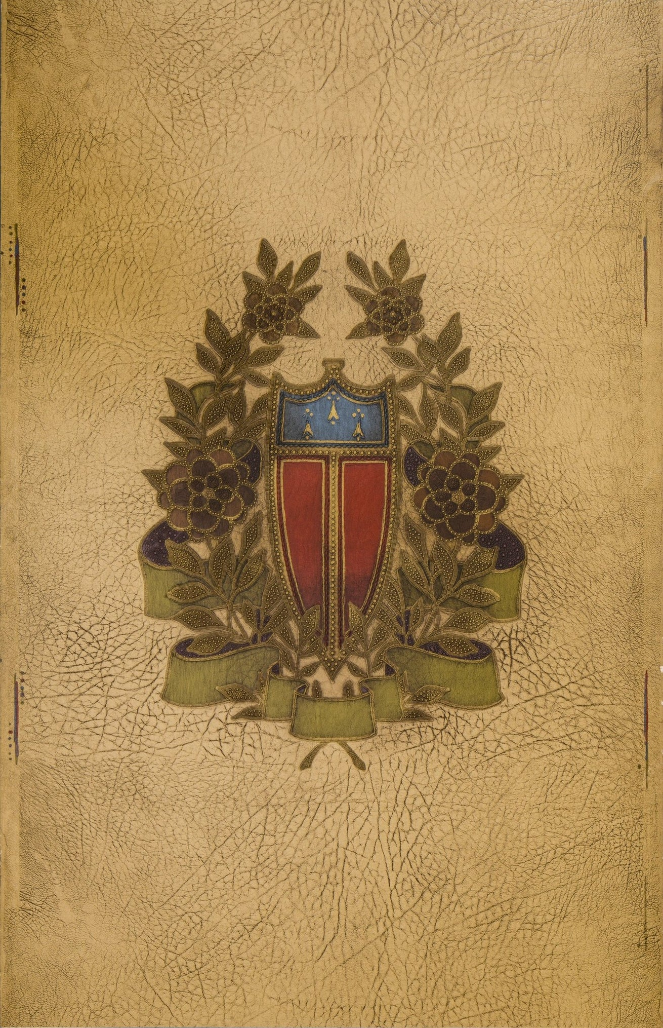Embossed Shield and Wreath on Leather - Antique Wallpaper Remnant