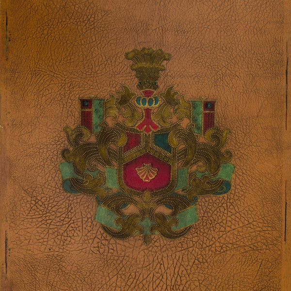 Embossed Heraldic Ornament on Leather - Antique Wallpaper Remnant