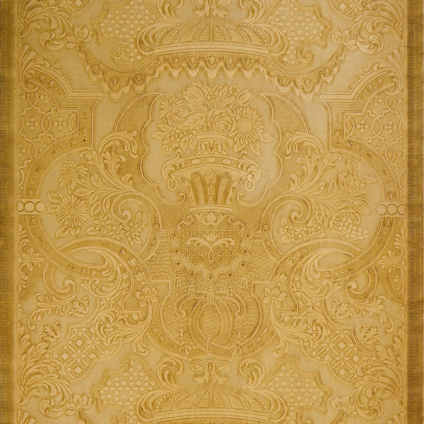Embossed Scrolls/Urns/Flowers/Swags/Lattice - Antique Wallpaper Remnant
