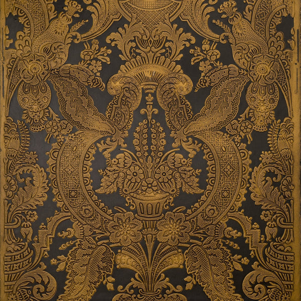 Embossed Tooled Damask - Antique Wallpaper Remnant