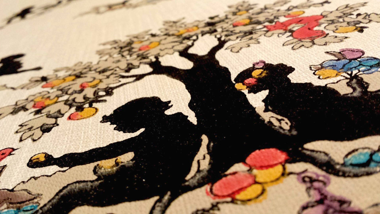 Black Silhouettes of Children Playing - Antique Wallpaper Remnant