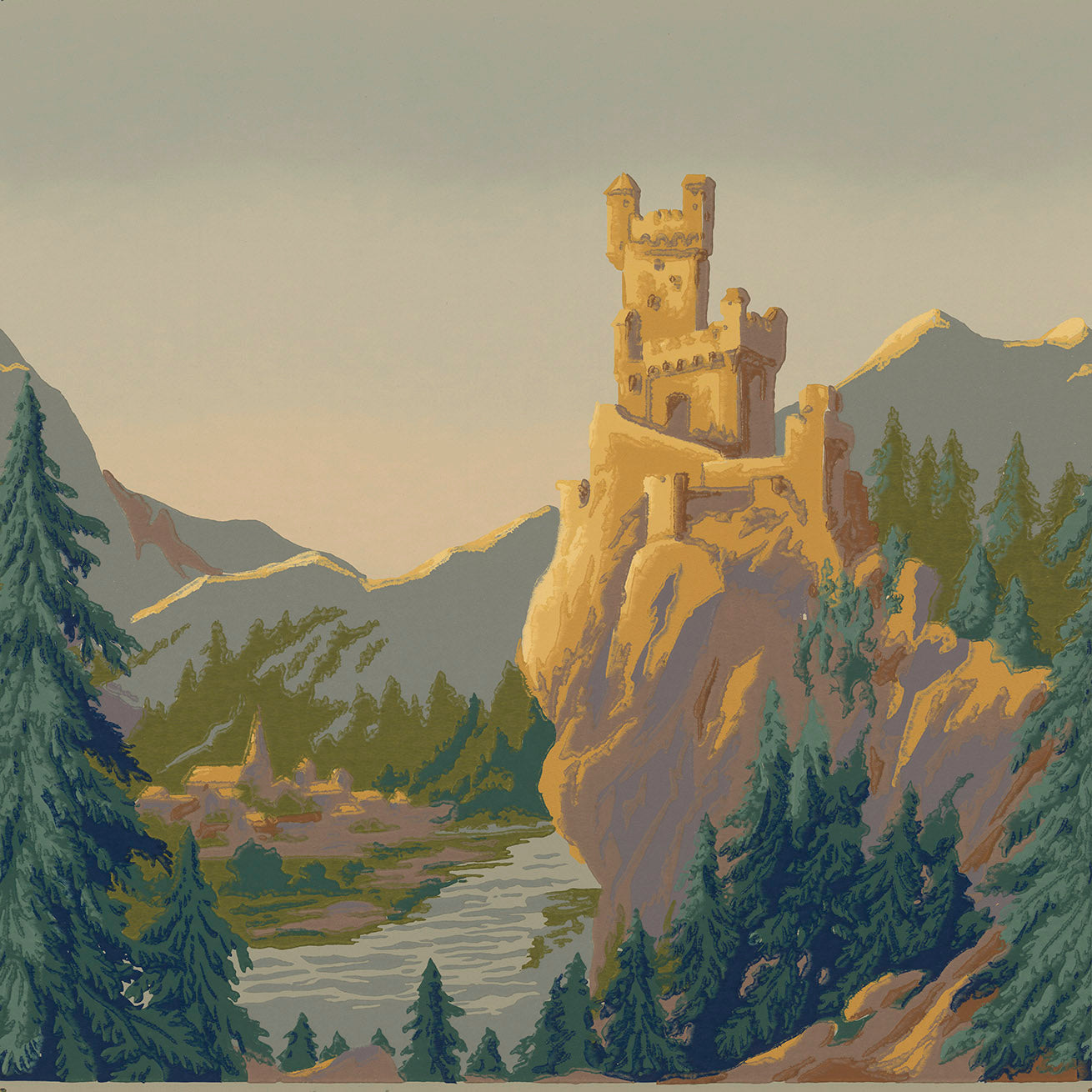 """Castles on the Rhine"" - Small Castle - Antique Wallpaper Remnant"