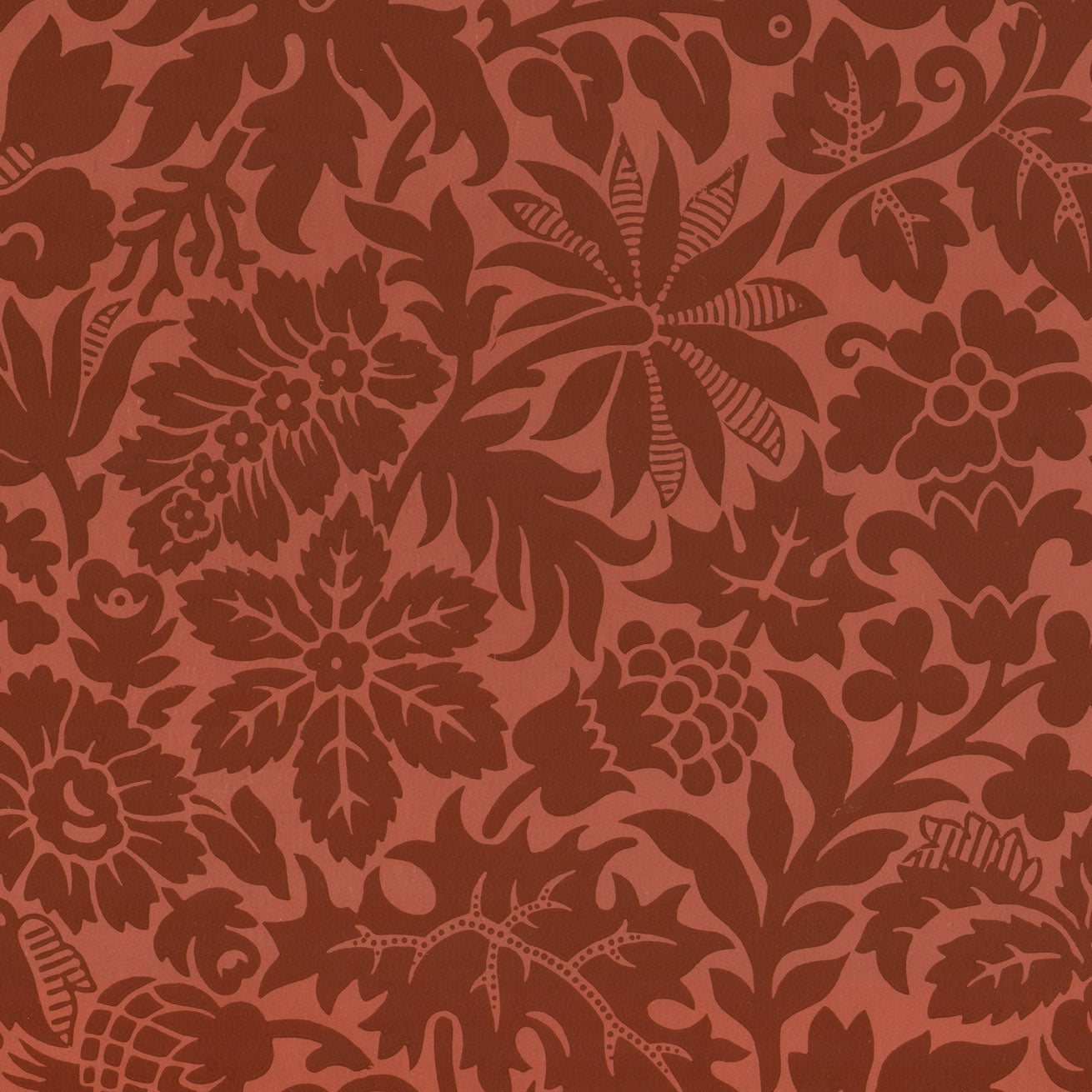 Salmon and Burgundy All Over - Antique Wallpaper Remnant
