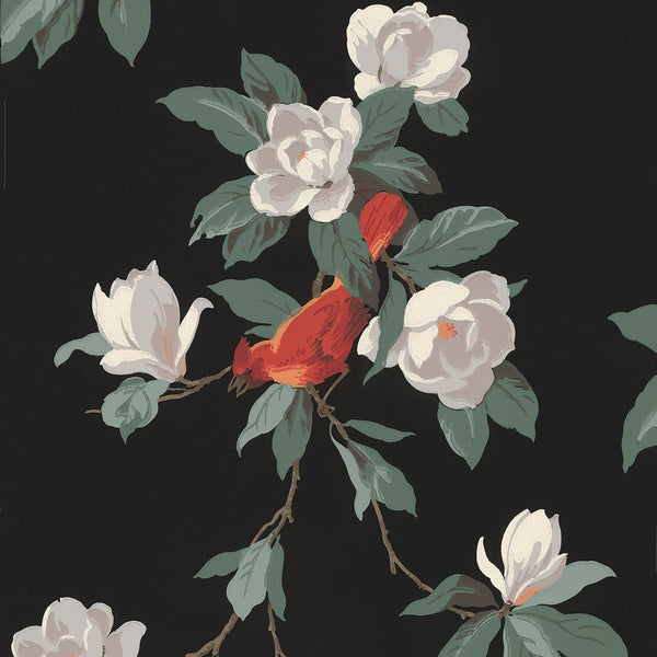 """Normandie"" Cardinal in Flowering Branches - Vintage Wallpaper Remnant"