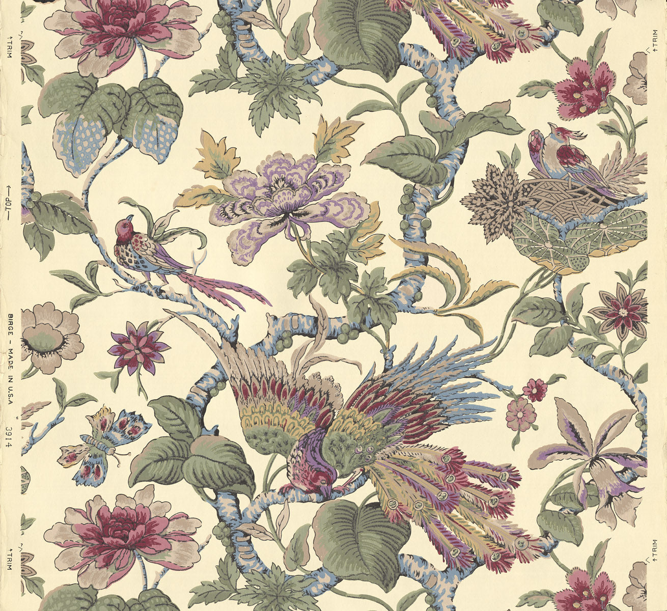 Floral Vine with Birds, Nest, Butterflies - Antique Wallpaper Remnant
