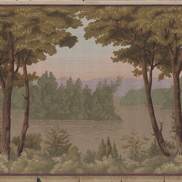 Trees and Lakescape - Antique Wallpaper Remnant