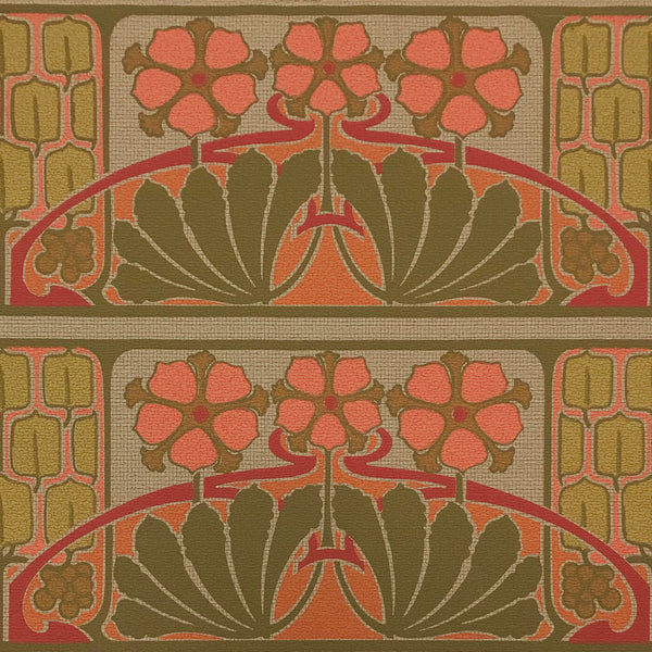 2-Band Nouveau Stylized - Antique Wallpaper Remnant