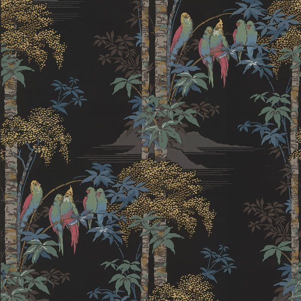 Parakeets in Palm Trees - Antique Wallpaper Remnant