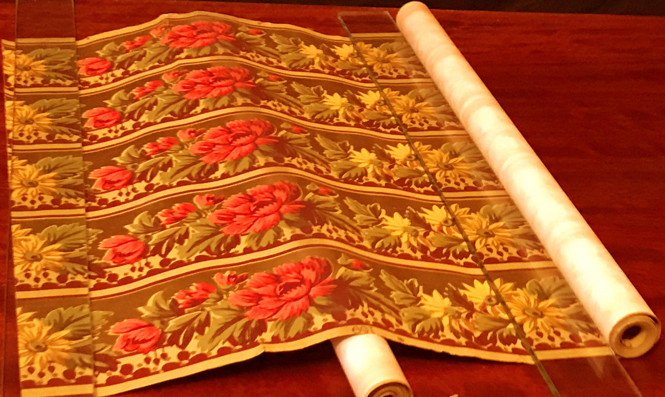 "4-Band 4-5/8"" Gilt Floral Border - Antique Wallpaper Rolls"