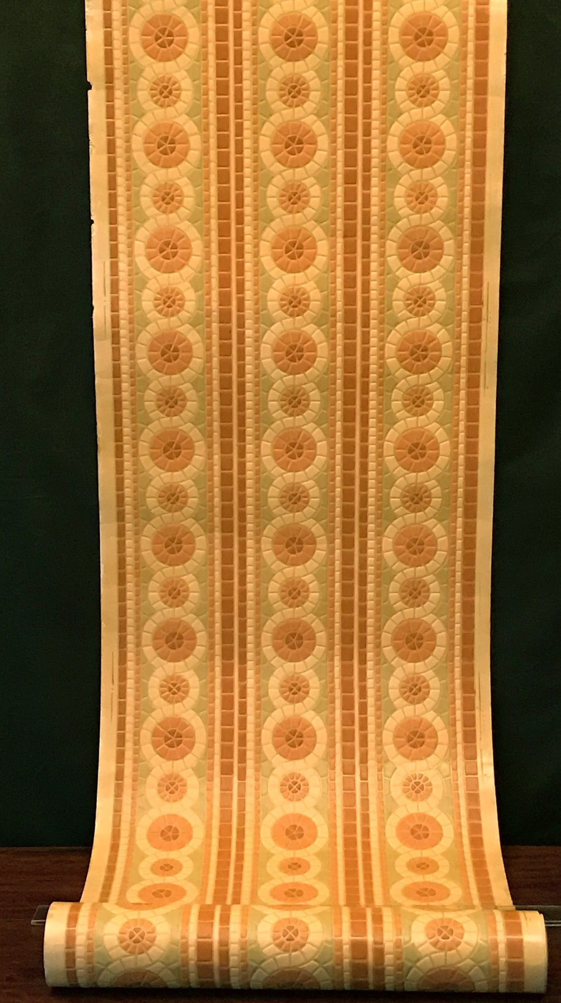 "3-Band 6-1/8"" Embossed Circles of Mosaic Tiles - Antique Wallpaper Roll"