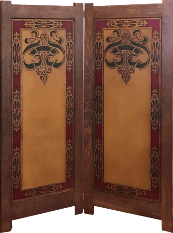 "New Arts & Crafts Folding Screen with Antique Wallpaper Panels - Hand-Printed Medieval ""Leather"" Paper"