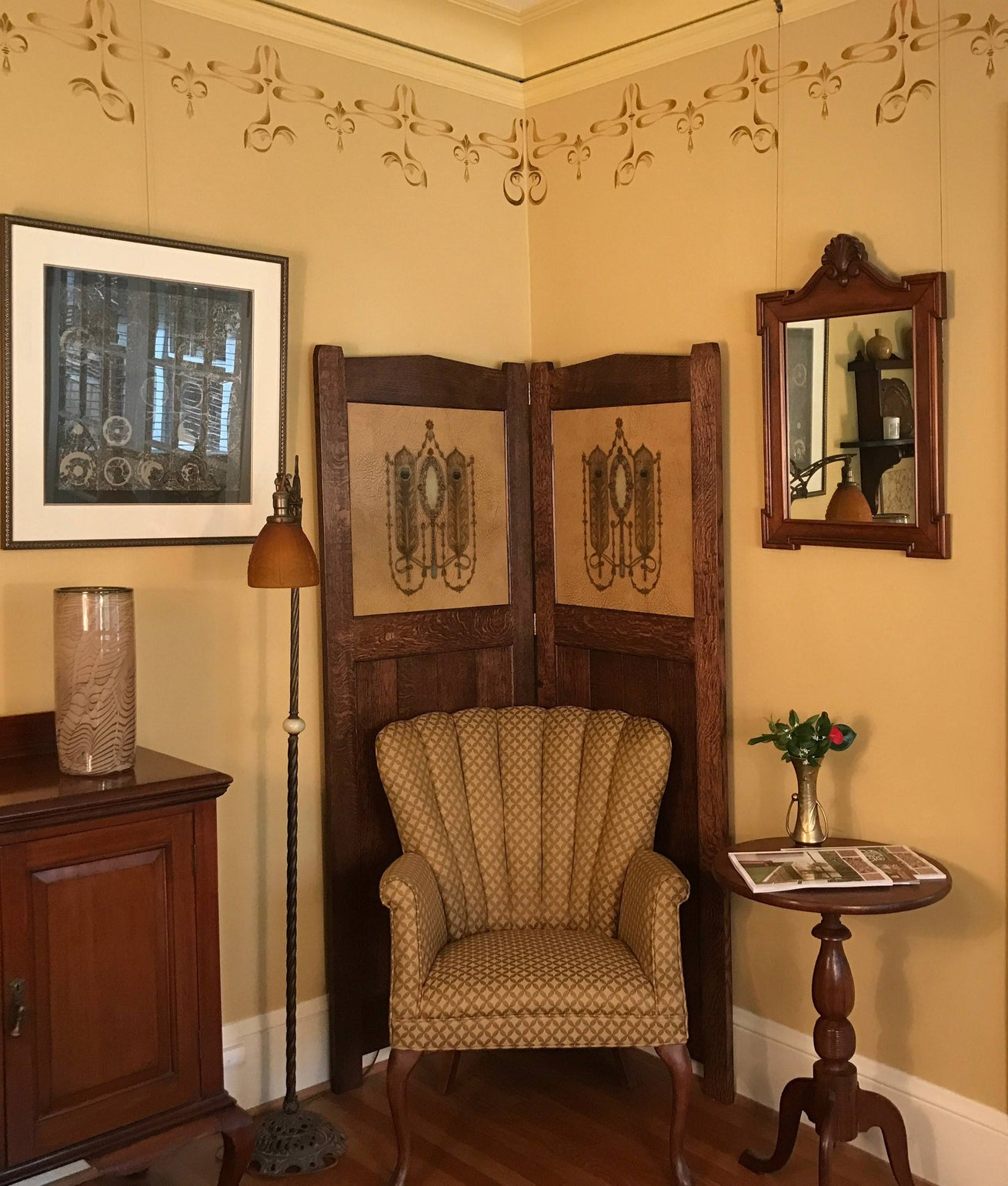"New Custom Folding Screen with inset Antique Wallpaper - Tooled ""Leather"" Peacock Feather Ornament"
