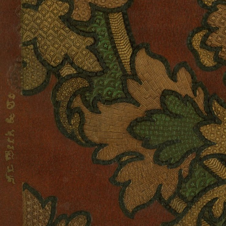 "Renaissance Tooled ""Leather"" Damask - Antique Wallpaper Rolls"