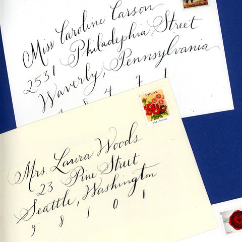 wedding envelopes calligraphy Seattle Calligrapher envelope addressing