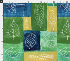 leaf symphony leaves outline blue green fabric sage Spoonflower Caitlin Dundon
