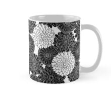 dahlia flower black and white floral mug coloring book design