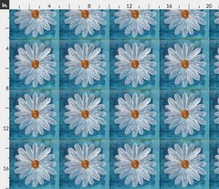 painted daisy fabric Spoonflower Caitlin Dundon