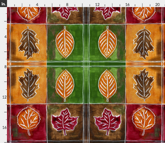 painted leaves leaf fall autumn fabric maple oak Spoonflower